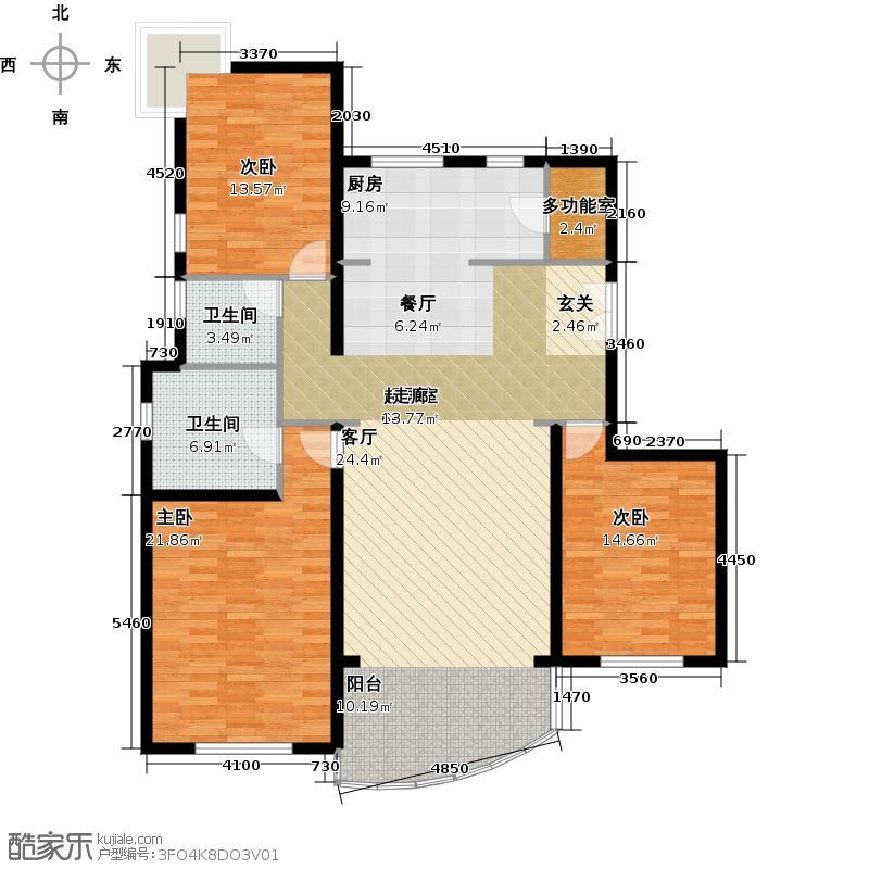 雍景天成158.00㎡三室二厅二卫户型