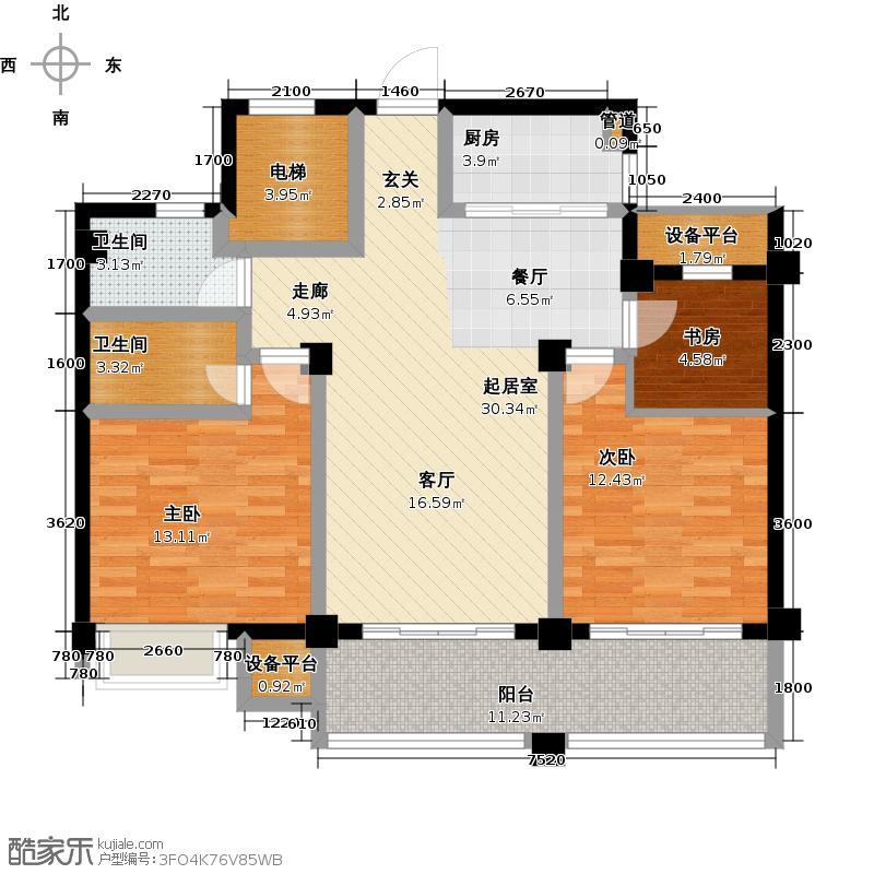 东方香舍105.35㎡东方香舍―3室2厅2卫F户型3室2厅2卫