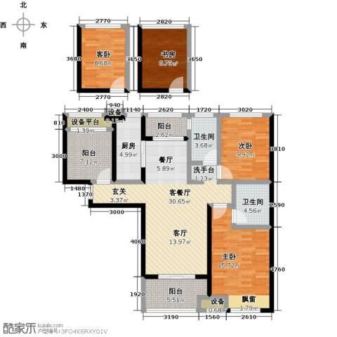 绿地外滩1号4室1厅2卫1厨124.00㎡户型图