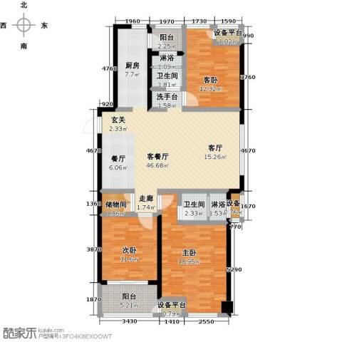 绿地外滩1号3室1厅2卫0厨126.42㎡户型图