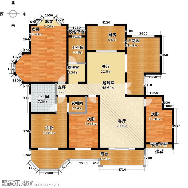 绅派金湖帝景191.00㎡四室两厅两卫户型