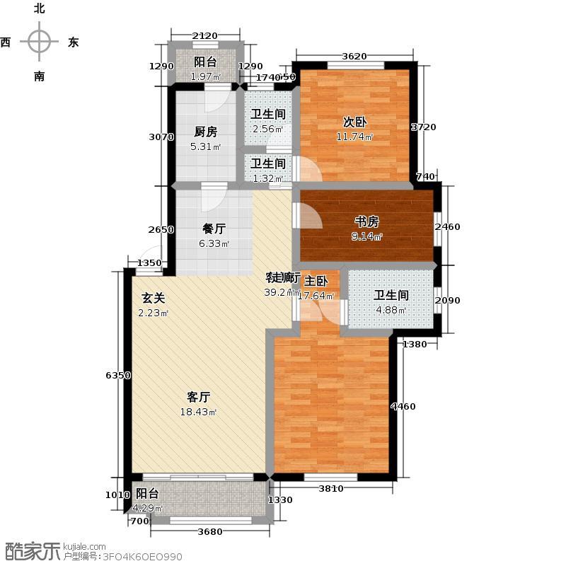 澳海东方1号110.00㎡B-1户型图户型3室2厅2卫