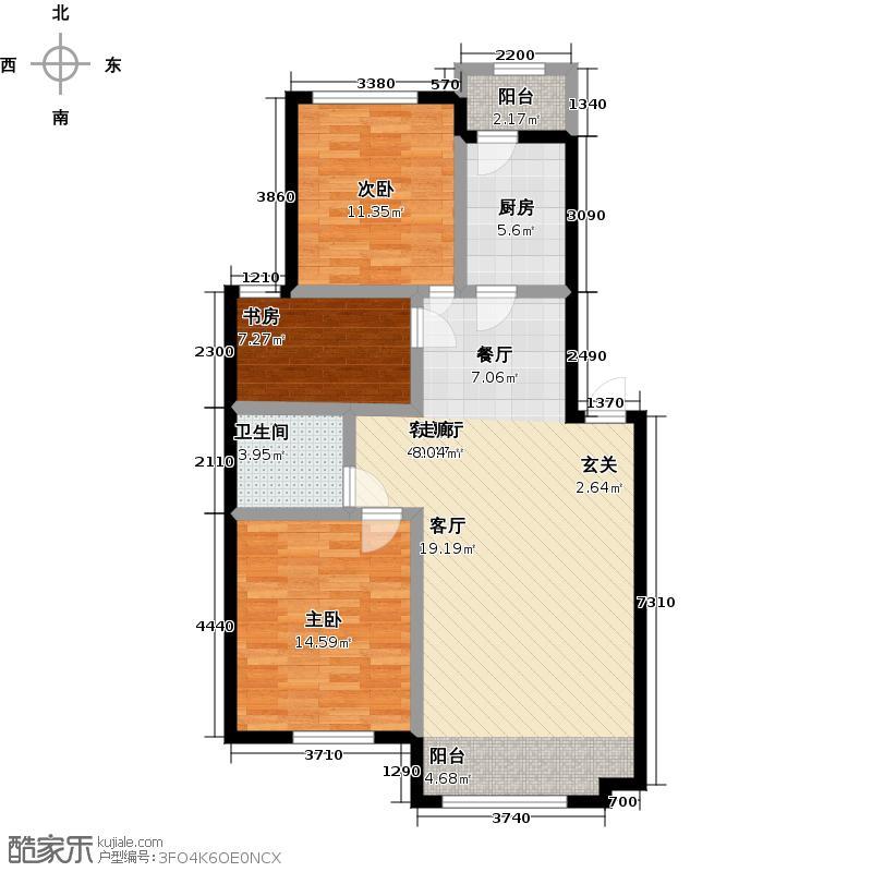 澳海东方1号97.00㎡B-2户型图户型3室2厅1卫