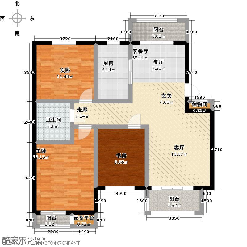绿溪桃源108.49㎡G4户型3室2厅1卫