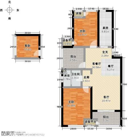 绿地外滩1号3室1厅1卫1厨105.43㎡户型图