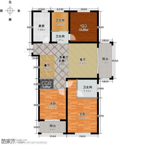 同科・汇丰国际3室1厅2卫1厨127.00㎡户型图