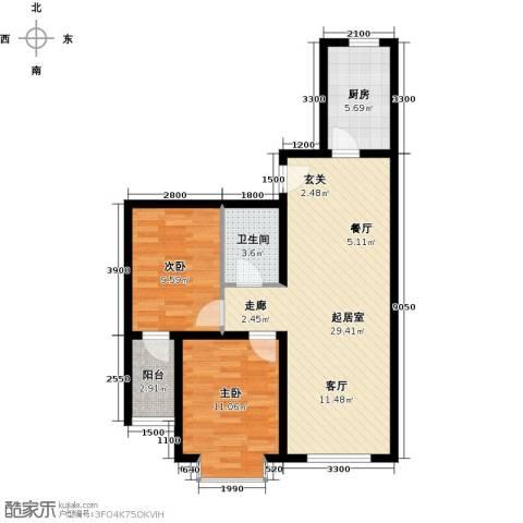 海韵馨园2室0厅1卫1厨85.00㎡户型图