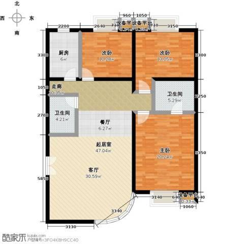 空港米兰花园3室0厅2卫1厨152.00㎡户型图