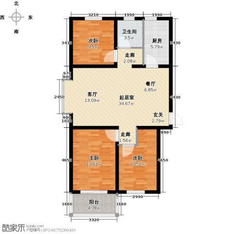 海韵馨园3室0厅1卫1厨93.00㎡户型图