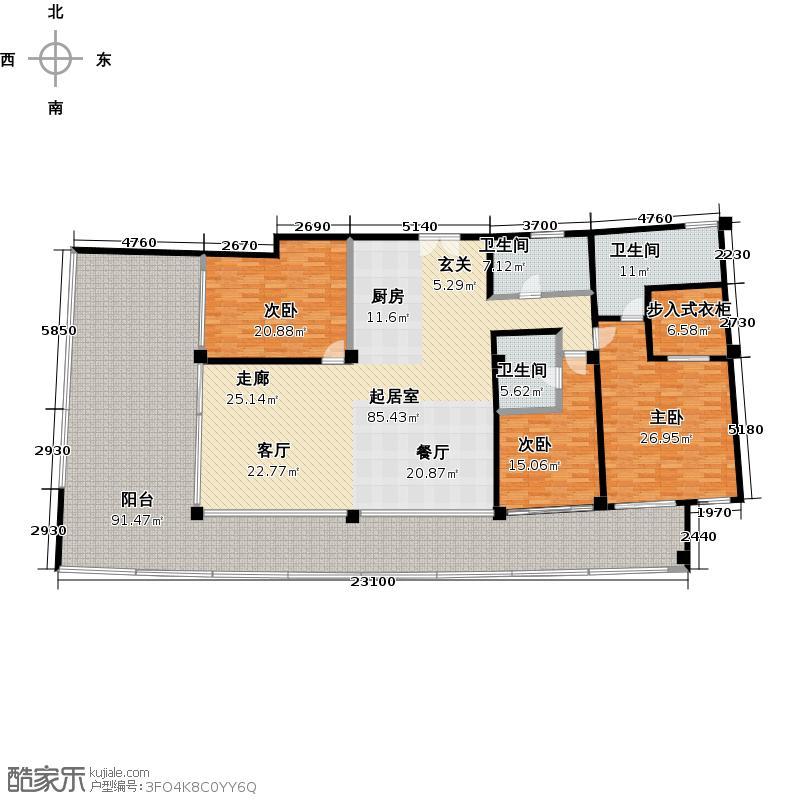 Aloha阿罗哈294.62㎡产权酒店A2退台户型3室2厅3卫