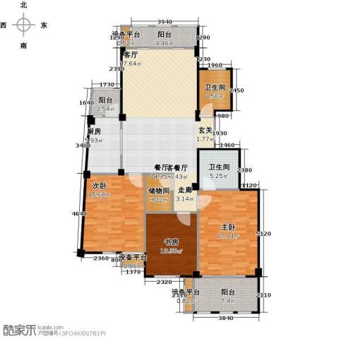 春江名城3室1厅2卫1厨126.00㎡户型图