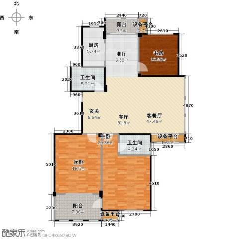 春江名城3室1厅2卫1厨137.00㎡户型图