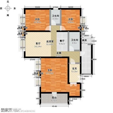 空港米兰花园3室0厅2卫1厨155.00㎡户型图
