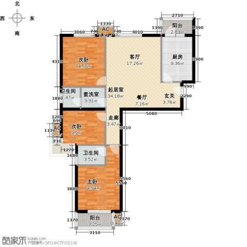 恒星花园3室0厅2卫1厨114.00㎡户型图
