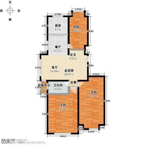 山水家园3室0厅1卫1厨108.00㎡户型图