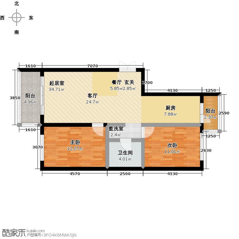 """哈尔滨提拉米苏""""糖""""户型 2室1厅1卫 使用面积65.80平米户型2室1厅1卫"""