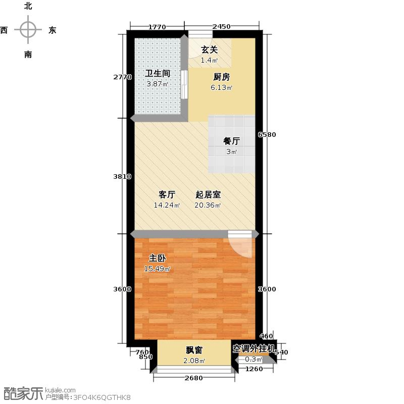 中央国际购物广场61.10㎡公寓C户型 一室一厅一卫户型1室1厅1卫