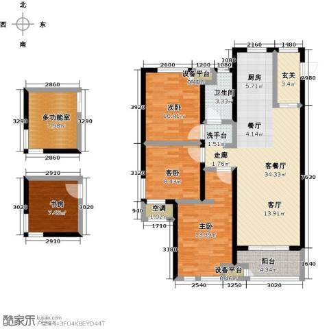 绿地外滩1号4室1厅1卫0厨111.85㎡户型图