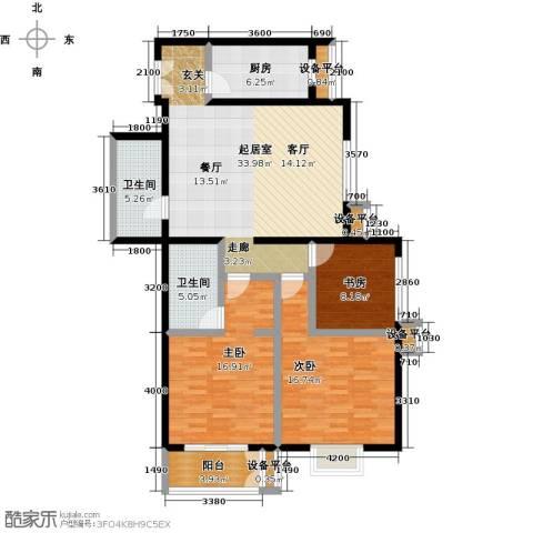 空港米兰花园3室0厅2卫1厨144.00㎡户型图