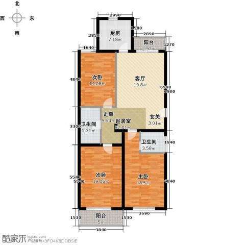 西山峻景3室0厅2卫1厨121.00㎡户型图