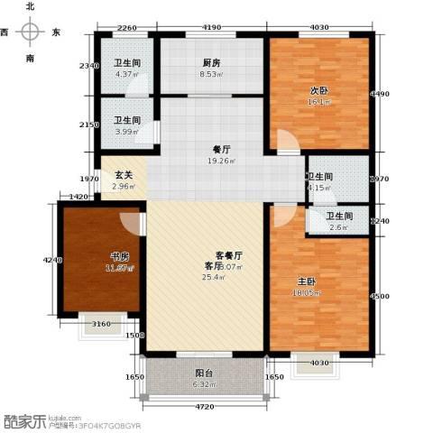 博雅A区3室1厅4卫1厨139.00㎡户型图