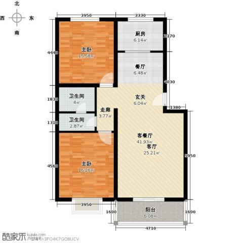 博雅A区2室1厅2卫1厨104.00㎡户型图