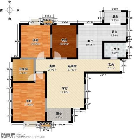 富力津门湖3室0厅2卫1厨120.00㎡户型图