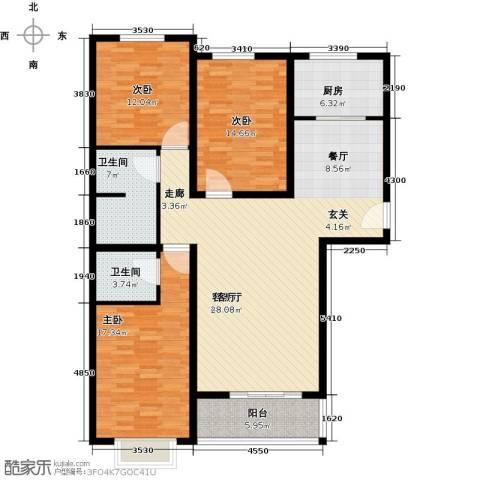 博雅A区3室1厅2卫1厨126.00㎡户型图