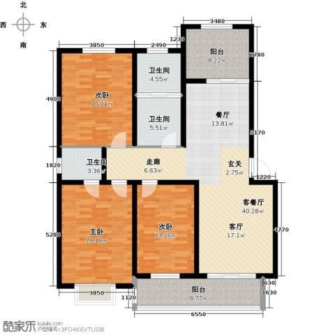 都市明星花园3室1厅3卫0厨169.00㎡户型图