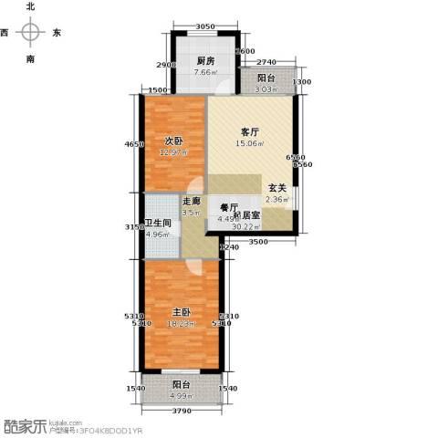 西山峻景2室0厅1卫1厨91.00㎡户型图