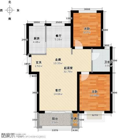 紫金江尚2室0厅1卫1厨94.00㎡户型图