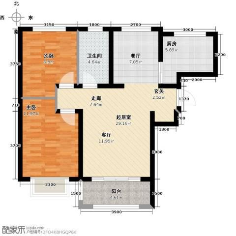 紫金江尚2室0厅1卫1厨95.00㎡户型图