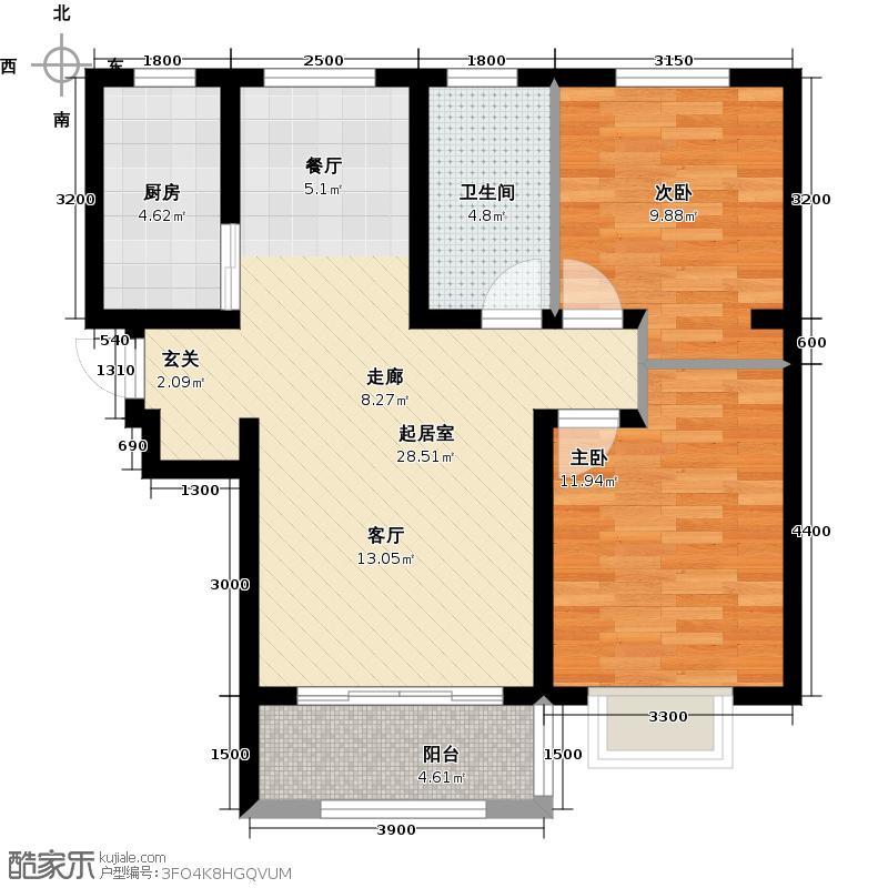 紫金江尚两室两厅一厨一卫90.79-95.79㎡户型2室2厅1卫