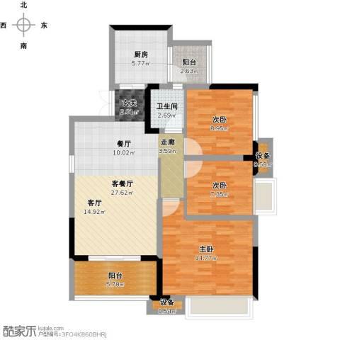 金辉悦府3室1厅1卫1厨111.00㎡户型图
