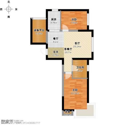 格林阳光城2室1厅1卫1厨79.00㎡户型图