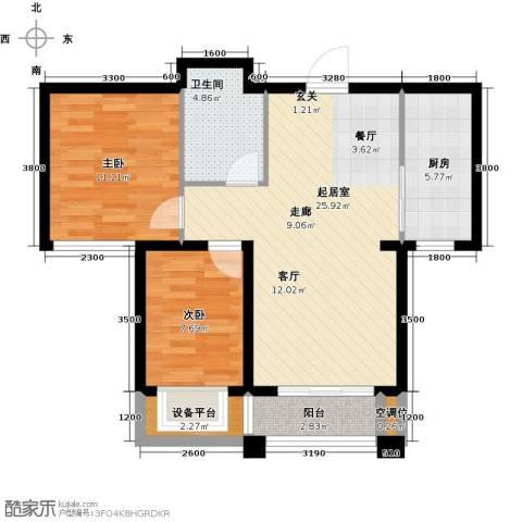 紫金江尚2室0厅1卫1厨88.00㎡户型图