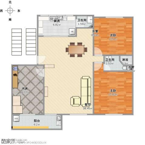 教师新村3室1厅2卫1厨133.00㎡户型图