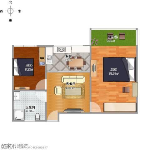 采荷一区2室1厅1卫1厨80.00㎡户型图