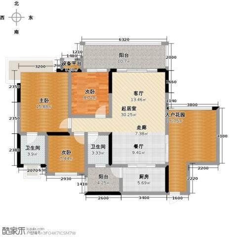 �湖世纪城3室0厅2卫1厨123.00㎡户型图