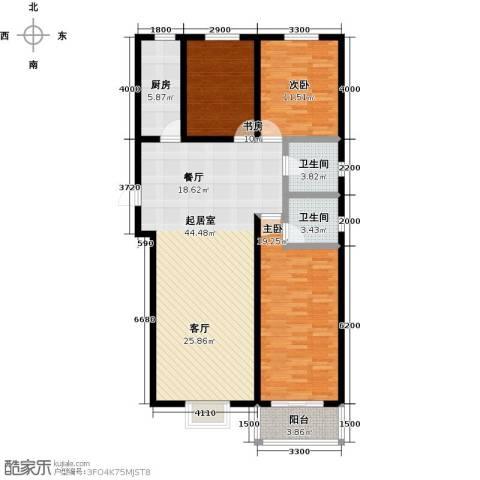 水畔明珠3室0厅2卫1厨129.00㎡户型图