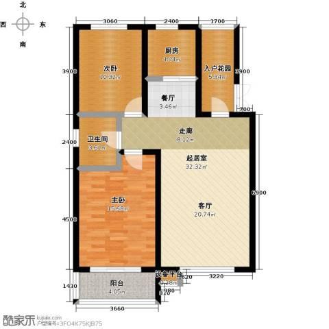 文化星城2室0厅1卫1厨110.00㎡户型图
