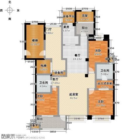 中豪东湖一品3室0厅2卫1厨141.46㎡户型图