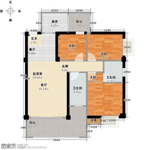 汇景园3室0厅2卫1厨92.00㎡户型图