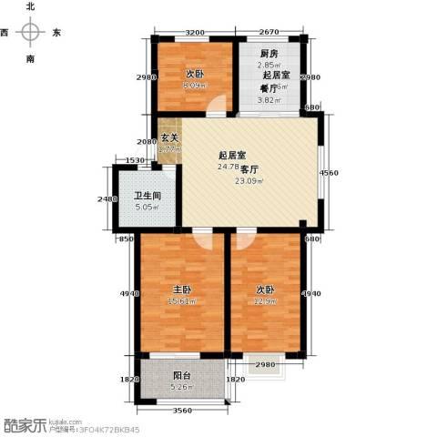 和美花园3室0厅1卫0厨90.00㎡户型图