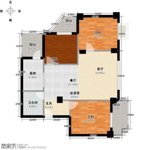 万代财富广场3室0厅1卫1厨108.00㎡户型图