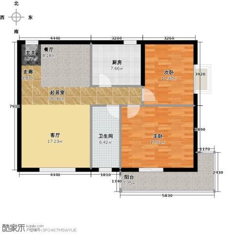 龙湾一品2室0厅1卫1厨96.00㎡户型图