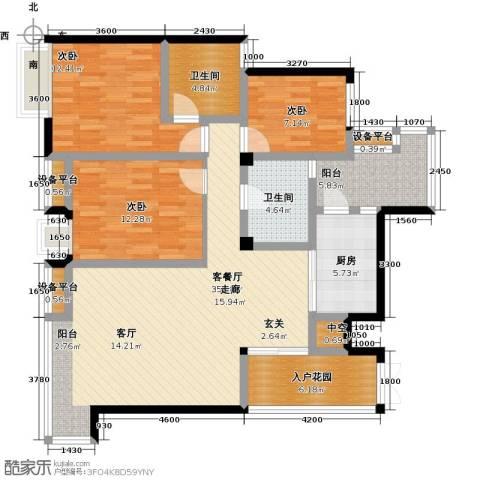 倍特领尚3室1厅2卫1厨142.00㎡户型图