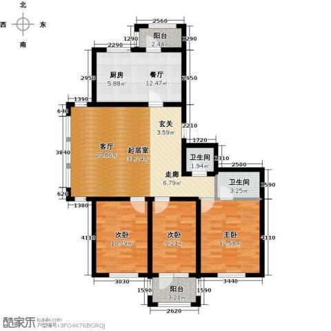 好民居康泰嘉园3室1厅2卫0厨125.00㎡户型图