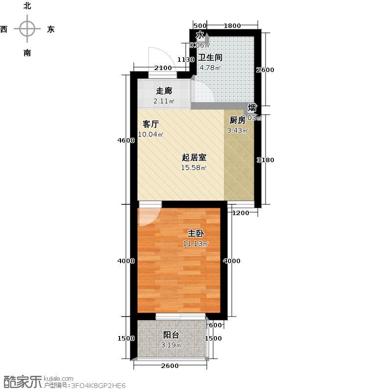 联合七号院52.22㎡户型K 1室1厅1卫户型1室1厅1卫