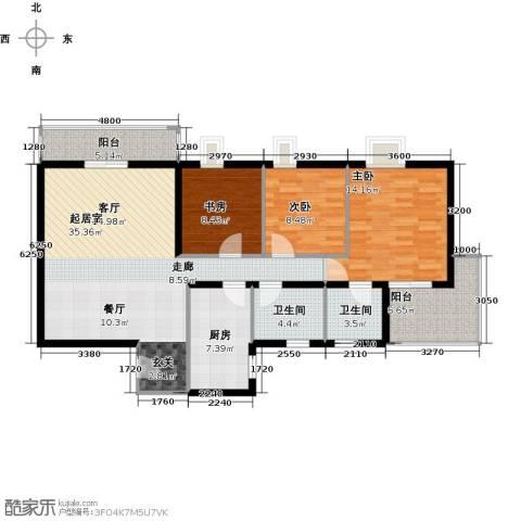 龙湾一品3室0厅2卫1厨124.00㎡户型图